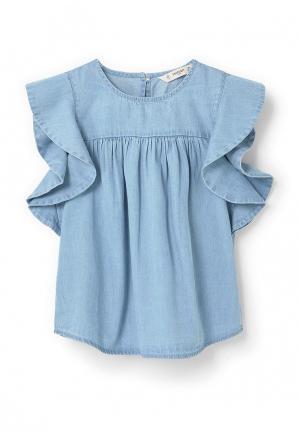 Блуза Mango Kids. Цвет: голубой
