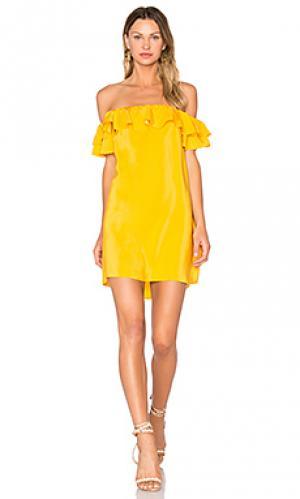 Платье ethan Amanda Uprichard. Цвет: горчичный