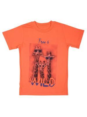 Футболка WOW. Цвет: оранжевый