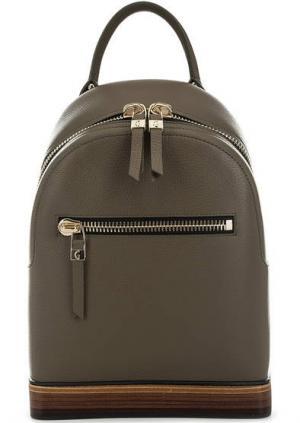 Кожаный рюкзак на молнии цвета хаки Gironacci. Цвет: хаки