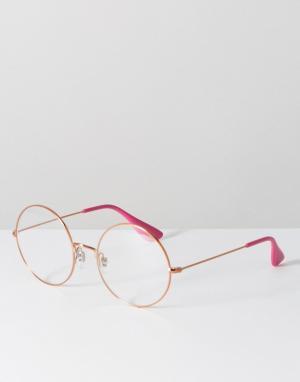 Ray-Ban Массивные круглые очки с прозрачными стеклами в оправе цвета розового. Цвет: золотой