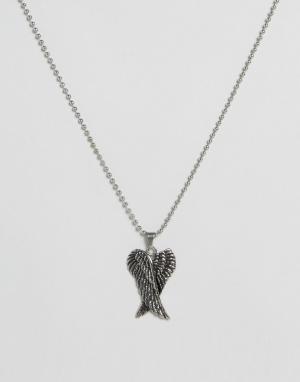 Seven London Серебристое ожерелье с крыльями эксклюзивно для ASOS. Цвет: серебряный