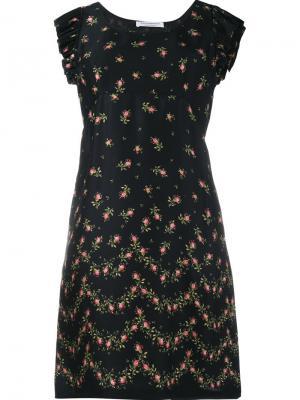 Платье с оборками и цветочным узором Philosophy Di Lorenzo Serafini. Цвет: чёрный