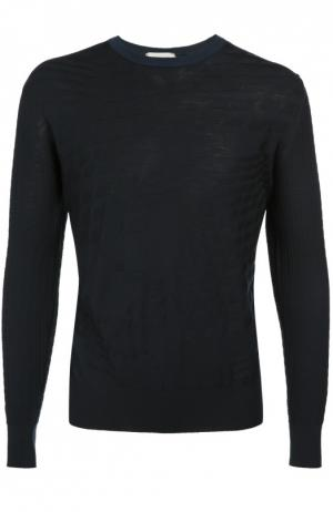 Джемпер из шерсти фактурной вязки Cortigiani. Цвет: темно-синий