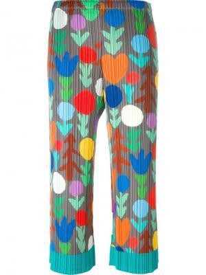 Плиссированные брюки с принтом Pleats Please By Issey Miyake. Цвет: многоцветный
