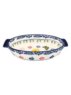 Блюдо для запекания Бабочки Elan Gallery. Цвет: белый, синий, желтый