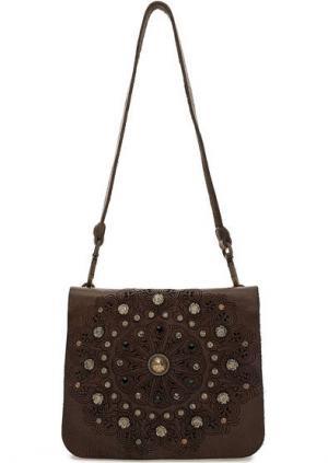 Маленькая кожаная сумка с откидным клапаном Campomaggi. Цвет: коричневый