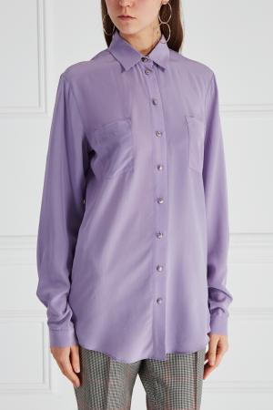 Шелковая рубашка LAROOM. Цвет: фиолетовый