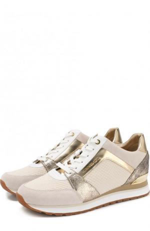 Комбинированные кроссовки Billie на шнуровке MICHAEL Kors. Цвет: бежевый