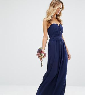 TFNC Платье-бандо макси WEDDING. Цвет: темно-синий