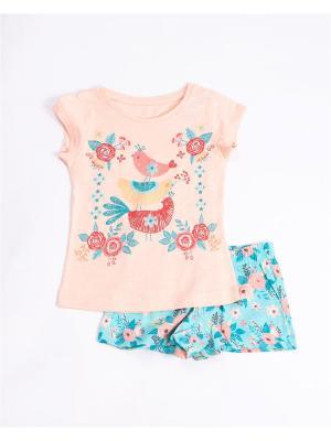 Комплект одежды: футболка, шорты Mark Formelle. Цвет: розовый, бирюзовый, персиковый