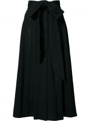 Юбка миди с поясом Lisa Marie Fernandez. Цвет: чёрный