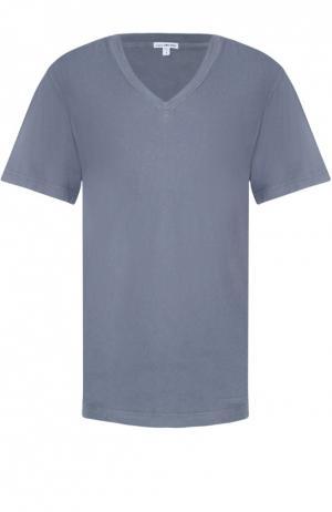 Хлопковая футболка с V-образным вырезом James Perse. Цвет: серый