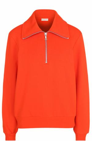 Хлопковый пуловер с воротником на молнии Dries Van Noten. Цвет: оранжевый