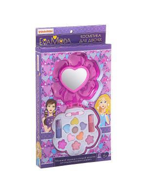 Набор детской косметики Bondibon Eva Moda, косметичка с зеркалом, тени  для век, помада.. Цвет: серо-голубой, розовый