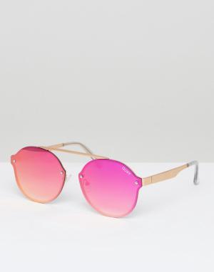 Quay Australia Розовые круглые солнцезащитные очки Camden Heights. Цвет: розовый
