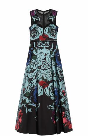 Приталенное платье-макси с цветочным принтом Elie Saab. Цвет: разноцветный