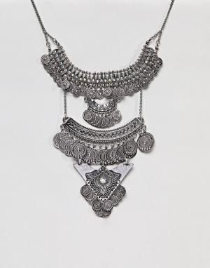 ASOS Броское ожерелье DESIGN. Цвет: серебряный
