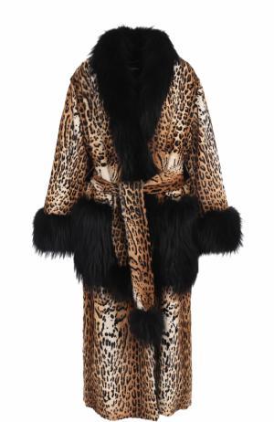 Шуба из меха козлика с отделкой лисы Dolce & Gabbana. Цвет: коричневый