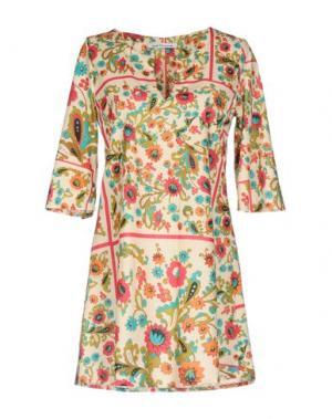 Короткое платье 100X200 CENTOXDUECENTO. Цвет: бежевый