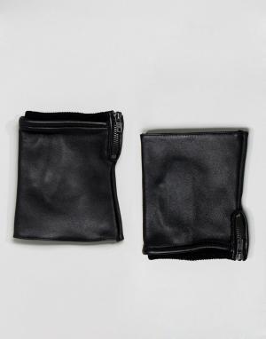 ASOS Черные кожаные перчатки без пальцев. Цвет: черный
