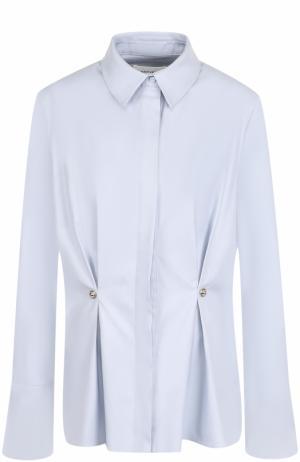 Приталенная хлопковая блуза с защипами Carven. Цвет: голубой