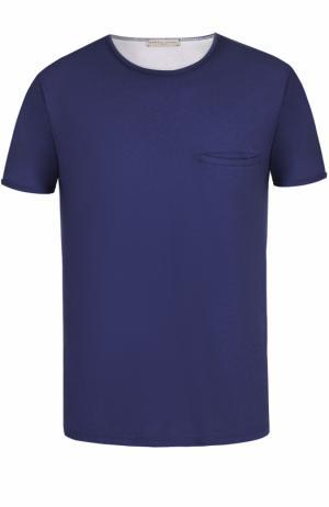 Хлопковая футболка с нагрудным карманом Daniele Fiesoli. Цвет: темно-синий