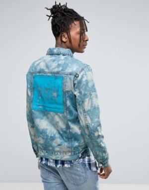 Reason Джинсовая куртка из мраморного денима с принтом на спине. Цвет: синий