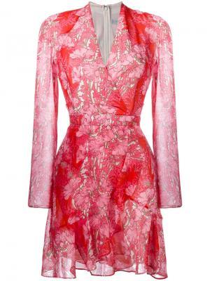 Платье с цветочным принтом Carven. Цвет: красный