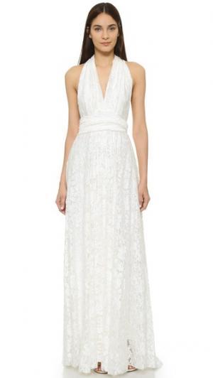 Кружевное бальное платье Twobirds. Цвет: золотой