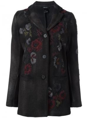 Однобортное пальто с цветочной вышивкой Avant Toi. Цвет: коричневый