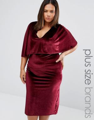 Club L Plus Бархатное платье миди размера плюс. Цвет: красный