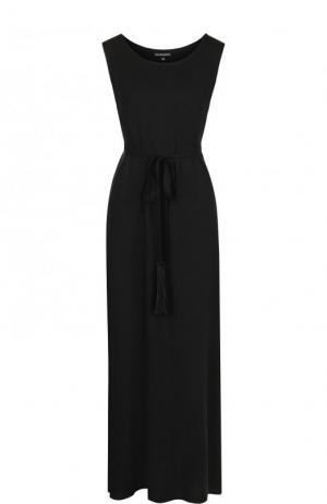 Однотонное приталенное платье-миди из вискозы Ann Demeulemeester. Цвет: черный