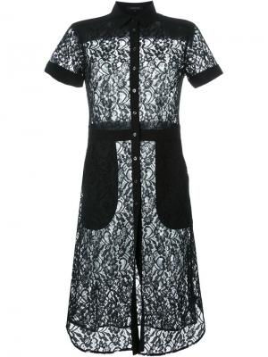 Кружевное платье-рубашка Loveless. Цвет: чёрный