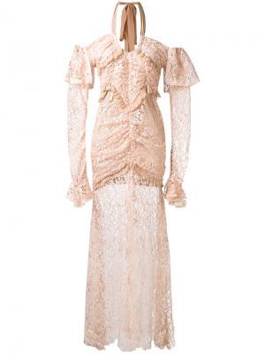 Кружевное длинное платье Alessandra Rich. Цвет: телесный