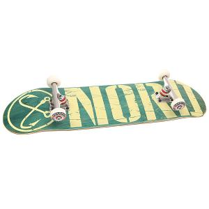 Скейтборд в сборе  Logo V.2 Green/Beige 32 x 8.25 (20.9 см) Nord. Цвет: зеленый,бежевый