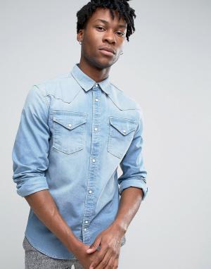 Bellfield Джинсовая выбеленная рубашка в стиле вестерн. Цвет: синий
