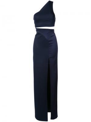Вечернее платье с разрезом Galvan. Цвет: синий