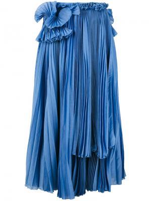 Плиссированная юбка средней длины Rochas. Цвет: синий