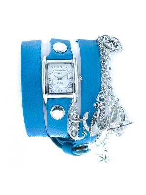 Часы La Mer Collections Charm Portofino Silver Greecian Blue. Цвет: синий