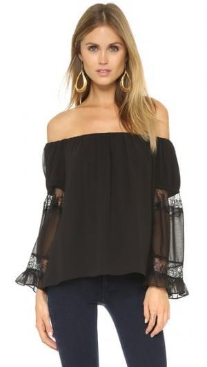 Блуза с оборчатыми рукавами MISA. Цвет: дымчатый черный