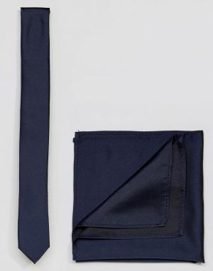ASOS Темно-синий галстук и платок для пиджака. Цвет: темно-синий
