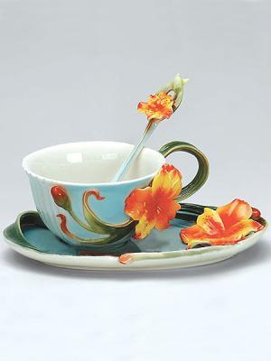 Чайная пара Лилии Pavone. Цвет: зеленый, голубой, оранжевый