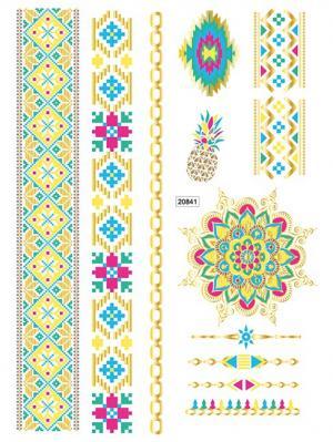 Переводные татуировки для тела 208х148 nailLOOK. Цвет: золотистый