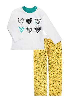 Пижама: свитшот, штанишки Коллекция Корона КОТМАРКОТ. Цвет: бирюзовый,молочный,желтый