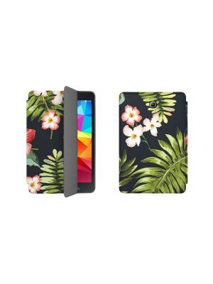 Дизайнерский чехол-книжка для Samsung Galaxy Tab A 8.0. Тропики With Love. Moscow. Цвет: черный, желтый, светло-зеленый