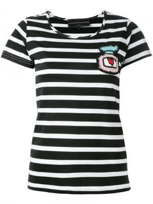 Полосатая укороченная футболка с заплатками Michaela Buerger. Цвет: чёрный