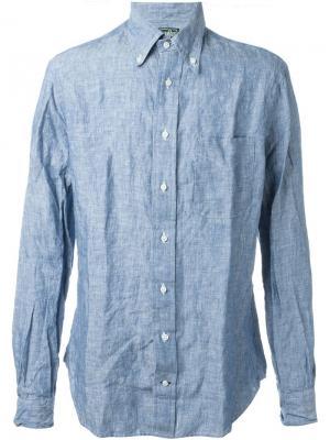 Рубашка с мятым эффектом Gitman Vintage. Цвет: синий