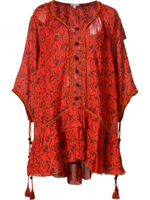 Пляжное платье с цветочным узором Poupette St Barth. Цвет: красный