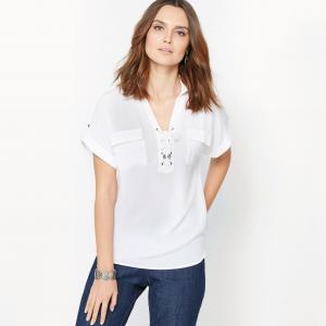 Блузка из струящегося крепа ANNE WEYBURN. Цвет: белый,хаки